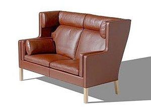 Ohrensofa / Børge Mogensen / Frederica Furniture / Leder im Farbton Cognac, Beine Eiche natur lackiert / DesignKlassiker von Klingenberg