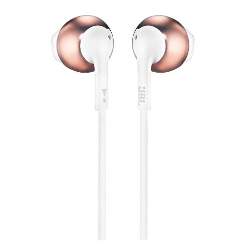 JBL T205BT Pure Bass Wireless Metal Earbud Headphones with Mic (Rose Gold) Image 4