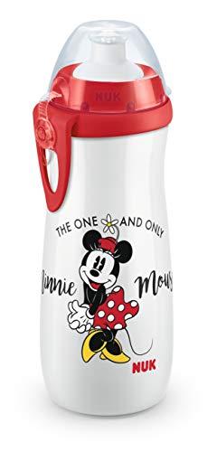 NUK 10255415 Disney Mickey Mouse Sports Cup, Trinkflasche für Kinder ab 36 Monate, auslaufsicher, BPA-frei, großes Volumen, 450ml, weiß (Minnie Mouse-kunststoff-cups)