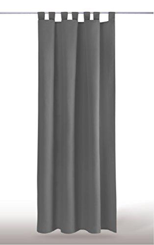 Blickdichte einfarbige Gardine in 4 vers. Ausführungen und in vielen Farben und Größen erhältlich, Auswahl: Schlaufe - B140xL245cm, anthrazit - dunkelgrau