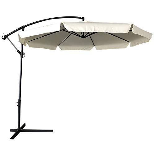 bakaji ombrellone da giardino decentrato 3x3 palo alluminio telo con pendente chiusura a manovella base a croce sistema air vent arredamento esterno gazebo giardino terrazzo (ecru)