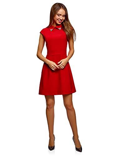 oodji Ultra Damen Tailliertes Kleid mit Verzierung am Kragen, Rot, DE 32 / EU 34 / ()
