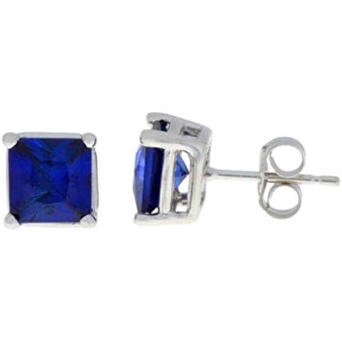 2 Ct creado zafiro azul 925 pendientes del perno prisionero del corte de la princesa. Plata de ley o...