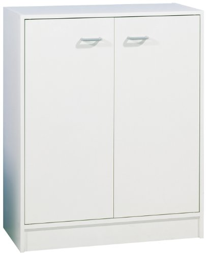 FACKELMANN Unterschrank STANDARD/Badschrank mit Kunststoffgriffen/Maße (B x H x T): ca. 60 x 80 x 29 cm/Badmöbel für das WC oder Badezimmer/Korpus: Weiß/Front: Weiß/Breite 60 cm