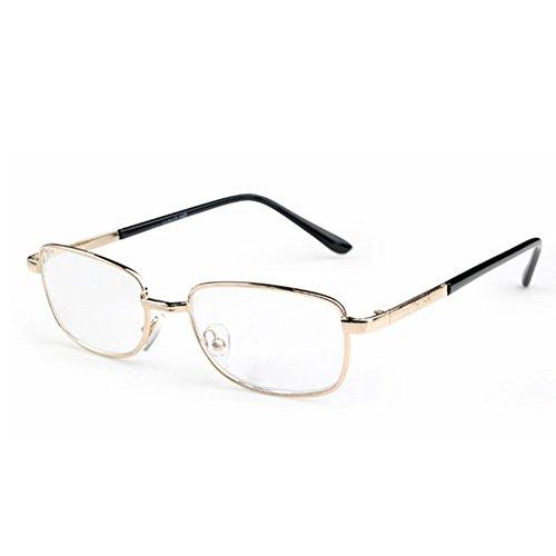 Inlefen Metallrahmen-Rechteck-Lesebrille-Weinlese eyewear mit Fall +4.50