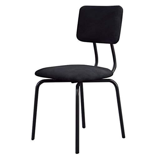 JBD Esszimmerstühle Metallbeine für Esszimmerstühle Bar-/Pub-Hocker mit mittlerer Rückenlehne, moderner Freizeit-Polsterstuhl, Sitz aus schwarzem Samt -
