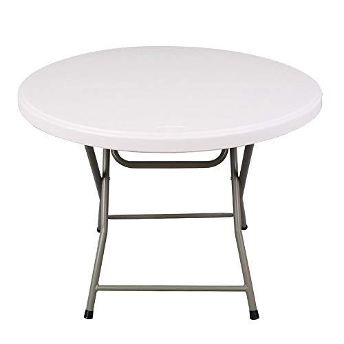 ZR Klapptisch, tragbarer Klapptisch im Freien, Partytisch, runder multifunktionaler Aluminiumklappstuhl (Farbe : Weiß)