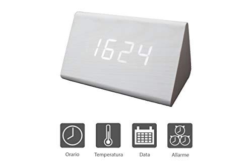 DELBOZ Sveglia Digitale Comodino, Design in Legno, Orologio LED - Visualizzazione Tempo, Data, Temperatura - Controllo vocale, 3 allarmi, Ricarica USB Inclusa