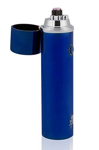 TESLA Lighter T02 | Lichtbogen Feuerzeug, Plasma Double-Arc, elektronisch Wiederaufladbar, Aufladbar mit Strom per USB, ohne Gas und Benzin, mit Ladekabel, in Edler Geschenkverpackung, Blau