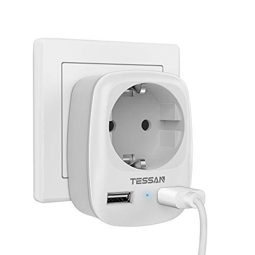 TESSAN USB Steckdose, Steckdose (4000W) mit 2 USB Anschluss (2.4A),Steckdosenadapter Mehrfach Schuko Verteiler Zwischenstecker ohne kabel für Deutschland Wand Ladestation mit Kindersicherung
