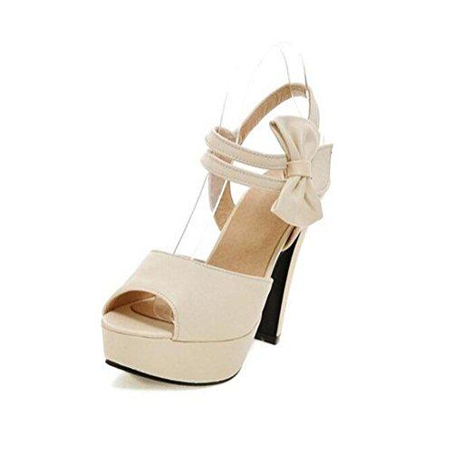 WYWQ Bowknot Moda Scarpe da donna ruvido tacco alto openwork velcro Extra large 31-47 sandali piattaforma impermeabile beige