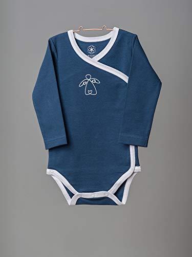 Organic by Feldman Unisex Baby Body Langarm Wickelbody aus Bio Baumwolle, GOTS Zertifiziert, Schutzengel Ozeanblau, (50/56) - 4
