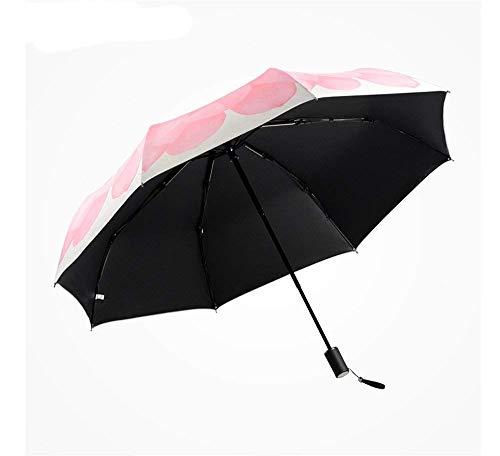 KISlink Leichter Klapp-Reiseschirm Sonnenschirm Schutz UV Outdoor Damen-Dreifach-Regenschirm Rutschfester Griff Einfacher Handschalter 98 cm -
