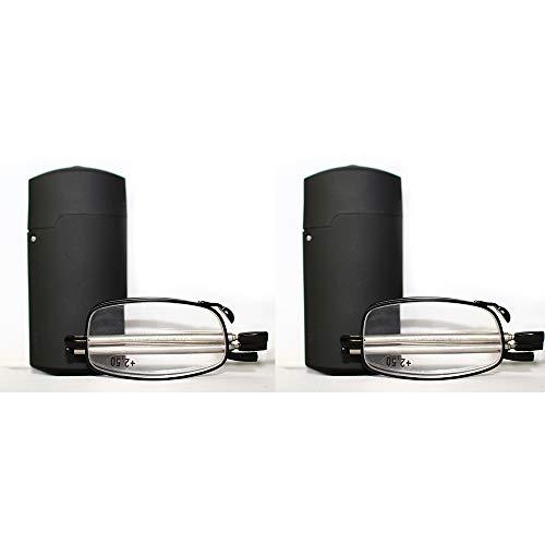 ZSSM Tragbare 1 Paar kompakte faltende Lesebrille Faltbare Mini Flip Top Tragetasche für Mode Männer Frauen Rotation Brille schwarz,+3.0