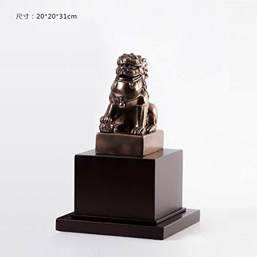 GOUDAIDAI Geschenk für den Lehrer Wohnzimmer Büro Display männlichen Löwen Handwerk Modell Haus Verkaufsbüro weiche Dekoration Zen Ornamente, Kupfer Löwe rechts - Outdoor-löwen-statuen