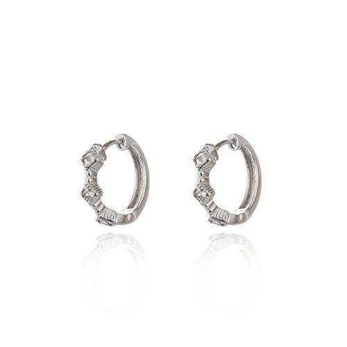Argento sterling 925quadrato lunetta boho zirconi Huggie cerchio orecchini a (Plain Huggie Orecchini)
