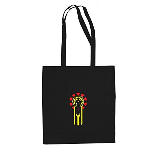 Planet Nerd Iron Logo - Stofftasche/Beutel, Farbe: schwarz (Captain Planet Kostüm Aus)