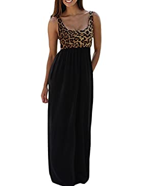 Donna Summer Leopardato Senza Maniche Tunica In Tempo Swing Maxi Vestito