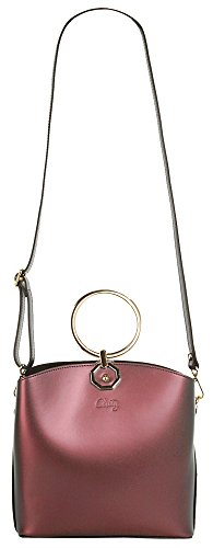 CLUTY Handtasche ECHT LEDER Damen Klein 019030 Bordeaux