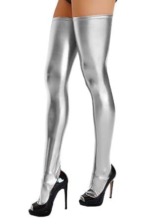 Calze autoreggenti al ginocchio, effetto bagnato argento 46