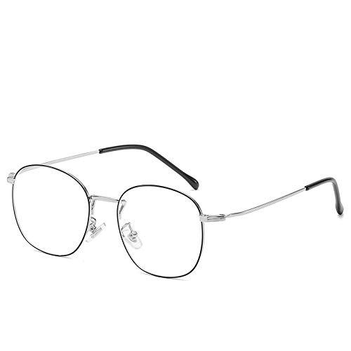 Yangjing-hl Anti-Blu-ray Brille runden Rahmen Flachspiegel Männer und Frauen Brillengestell kann mit Myopie Brillengestell Verarbeitung Silber Malerei schwarz ausgestattet Werden