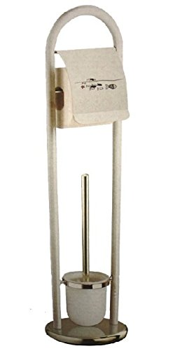 SANWOOD WC-Kombi-Bürstengarnitur Fische Metall weiß, Chrom 12.5 x 21.5 x 78 cm