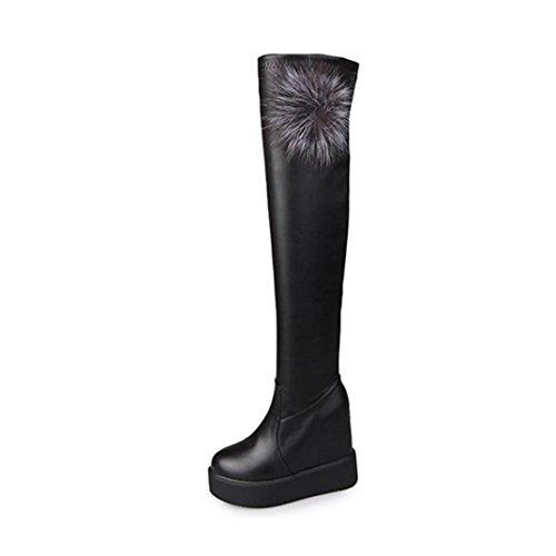 Knie Stiefel Winter Btruely Herbst Schuhe Mode Stylische Damen Gerade Stiefel Knie Dicke Stiefel Warme Stiefel Slouchy flache Ferse Stiefel Schuhe (Schwarz, 36) (Stiletto Boot Knie)