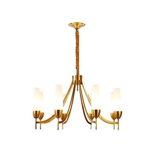 SEEKSUNG Moderner Kronleuchter, 8-Licht-Kronleuchter aus Messing - Gealtertes Messing - Milchglas Lampenschirm,Gold (Slate 8 Light)