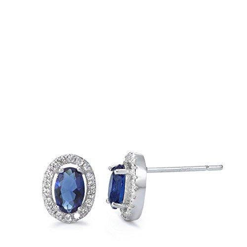 Ohrstecker Silber Zirkonia rhodiniert, Beschichtung: rhodiniert, Breite: 7 mm, Länge (mm): 9 mm, Steinfarbe: blau, Zielgruppe: XVision