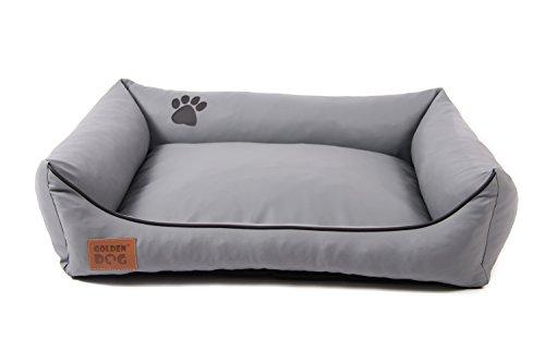 Hundebett Kunst Leder Luxus Hundebett Hundesofa Katzenbett Hundekorb S M L XL XXL XXXL Dollaro (XL (ca. 100x80 cm), grau)