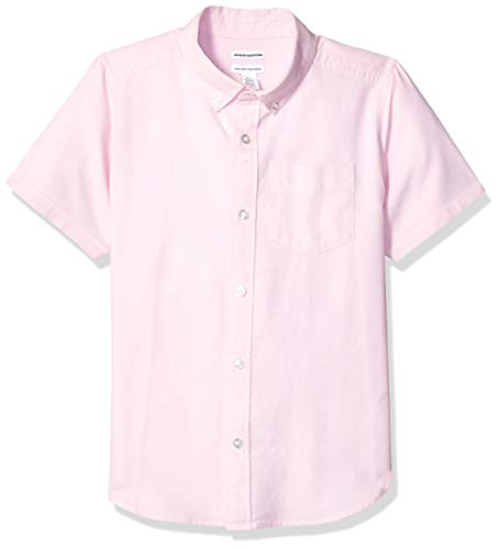 Amazon Essentials Uniform Oxford-Hemd für Jungen, Kurzarm, Oxford Pink, US XL (EU 146 -152 CM, H)