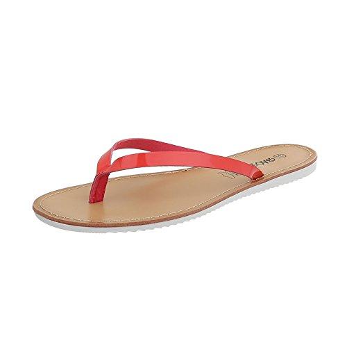 Ital-Design Zehentrenner Damen-Schuhe Sandalen & Sandaletten Rot, Gr 39, Ls16-5-