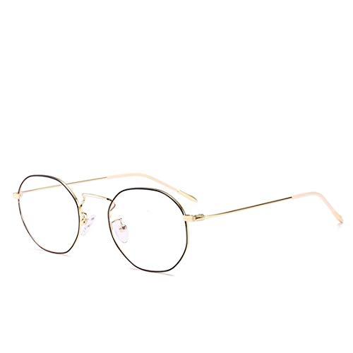 Chengduaijoer Metall unregelmäßige Brille Rahmen Mode Polygon Brille Nicht Brille für Frauen, Männer (Color : Black-Gold)