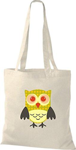 ShirtInStyle Jute Stoffbeutel Bunte Eule niedliche Tragetasche Owl Retro diverse Farbe, natur