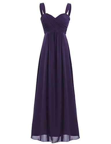 iEFiEL Elegant Damen Kleider Sommer Chiffon Kleid Lang Cocktailkleid Abendkleider Hochzeit Party Kleider Gr. 36-46 Dunkel Lila 38/40 (Herstellergröße: - Chiffon-langes Kleid Lila