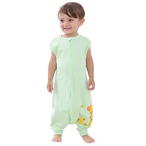 schlafsack baby sommer mädchen junge mit fussen Frühling schlafanzug baumwolle dünner neugeboren Elefant Auto - 0.5 tog. (90CM (18-36 monate), Grün Auto Giraffe)