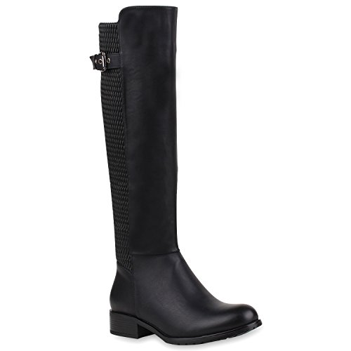Damen Reiterstiefel Leder-Optik Stiefel Schnallen Gesteppte Boots Blockabsatz Modische Damen Schuhe 108651 Schwarz 37 | Flandell® (Kostüme Reitstiefel)