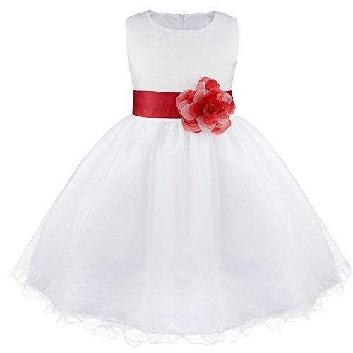 iiniim Mädchen Kleid Festliche Prinzessin Kleider Blumenmädchenkleider Weißes Taufkleid Hochzeitskleid Partykleid Festzug Gr.92-164 Rot 92/2 Jahre