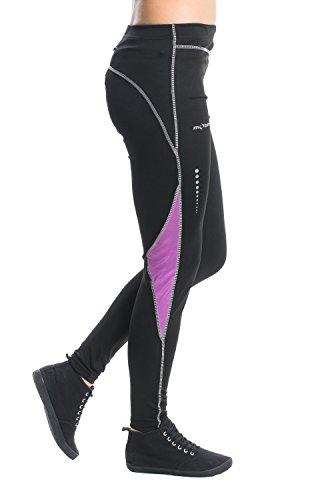 Mobina Primavera Estate Pantaloni Lunghi da Ciclismo Jogging Fitness con Effetto Compressivo Per Donna - Viola / Nero S