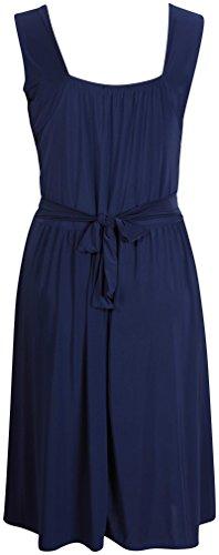 Vestito da donna senza maniche, elasticizzato, con fasce incrociate e con fibbia, cintura posteriore, taglie abbondanti Navy blue