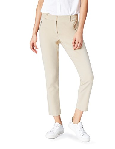 FIND Damen Hose Zip Pocket Skinny Crop Elfenbein (Cream), 34 (Herstellergröße: X-Small) (Hose Zip-pocket)