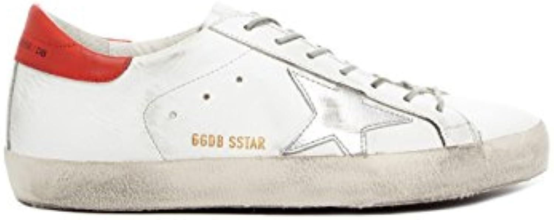 Golden Goose - Zapatillas de Piel para hombre blanco blanco/rojo -