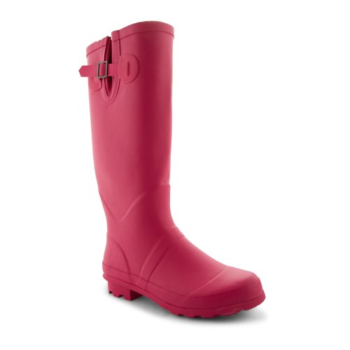 New Womens Ladies Festival Rain Snow Wellington Boots Winter Riding Wellies, Fuchsia...