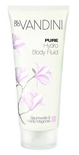 aldoVANDINI PURE Hydro Body Fluid Baumwolle & Weiße Magnolie  - vegan & parabenfrei, 1er  Pack (1 x  200 ml) (Duftende Feuchtigkeitsspendende Lotion)