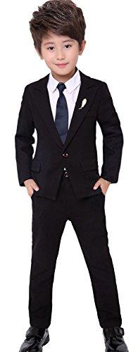Cloud Kids Kinder Anzug Set Jungen Hochzeit Festlicher Anzug mit Jacke Hemd Krawatte Hosen Körpergröße 140cm (Herstellergröße 19), Schwarz