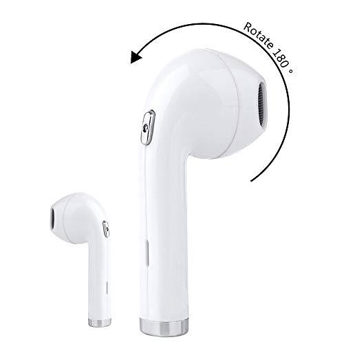 CHRRI Bluetooth-Headset, Linkes Und Rechtes Ohr Universal Wireless Hängende Ohrstöpsel Ultra Kleine Mini-Unsichtbare Sport-Ohrstecker In-Ear (Schwarz, Weiß),White - Ultra Kleine Bluetooth-headset