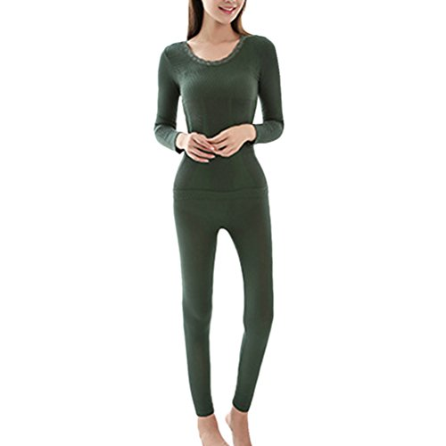 Zhhlaixing Hot Winter Donne Slim Body-shaped Thermal Underwear Suits Warm Top and Pants Green