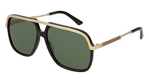 Gucci Unisex-Erwachsene GG0200S 001 Sonnenbrille, Schwarz (1/Green), 57