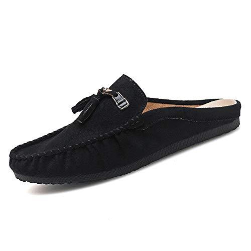 HILOTU Loafer Schuhe Für Herren, Boots Mokassins Slip On Style Wildlederschuhe Klassische Quaste Volltonfarbe Halbe Gezogene Schuhe (Color : Schwarz, Größe : 42 EU) -