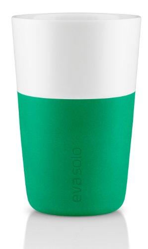 Eva Solo Cafe Latte-Becher grün, 2 Stück, 360 ml, Porzellan, Granite Green, 6 x 6 x 6 cm Green Latte Becher